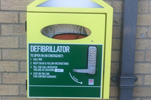 Defibrillator outside Plantation Hall, Heybridge