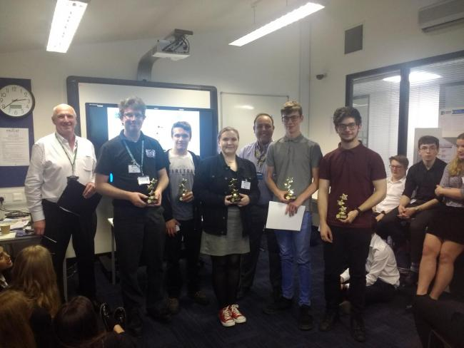 The engineering sixth form pupils from Ormiston Rivers Academy in Burnham with their awards for designing a sentry robot with facial recognition