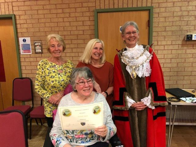 GOING FOR GOLD: Maldon and Dengie Stroke Support and Carers Group was presented with a gold award by mayor Flo Shaughnessy for its communal gardens at the Maldon in Bloom Awards