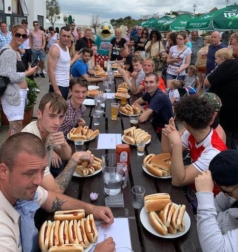 Competition - The hot dog eating contest at Clacton Pier