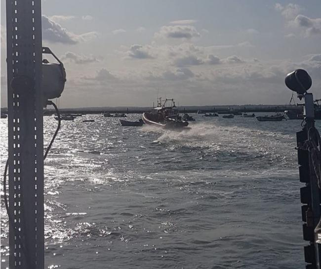 LIFESAVERS: The West Mersea RNLI team were called out to helpa stranded motor boat that had to be tied beside the Ross Revenge Photo: West Mersea Lifeboat Station - RNLI