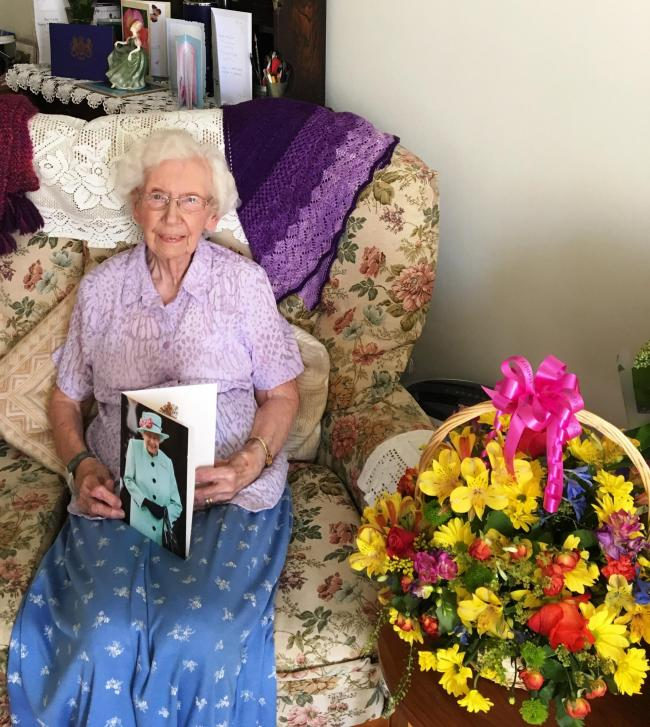 healthy lifestyle: Phyllis Nurse celebrated her 100th birthday by enjoying her favourite meal in the decorated dining room of The Hawthorns retirement home