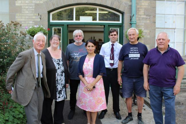 John Lowe, Debbie Thomas, Dr Roger Griffen, Priti Patel MP, James Gulleford, Dick Waylen and Mark Weale outside the Museum of Power