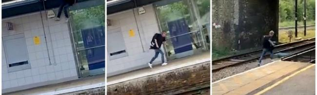 Watch - Moment man vaulted over station wall in failed bid to flee police caught on camera