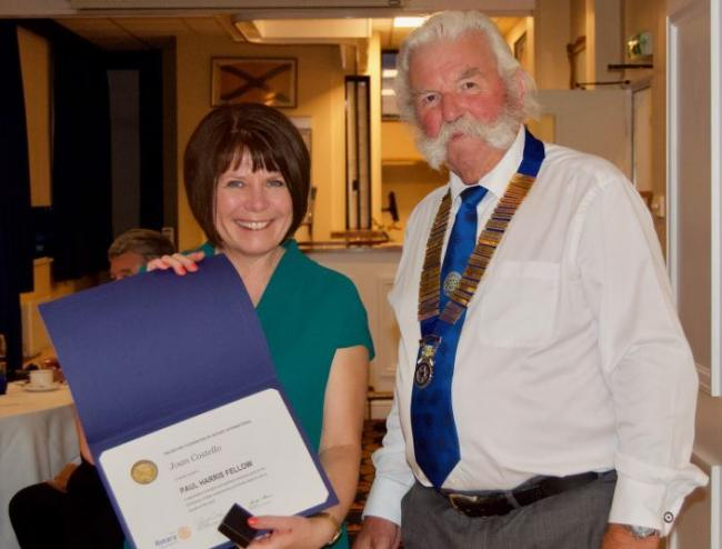 Joan Costello with her Rotary Award