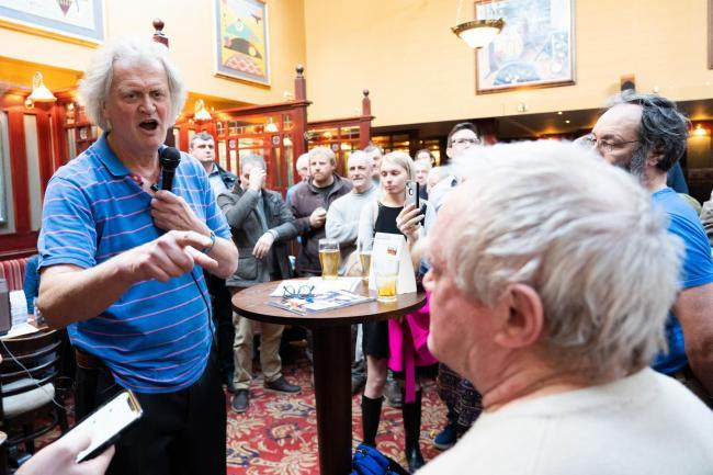 Tim Martin speaking at The Last Post, in Southend