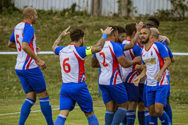 FC Clacton booked their place in the FA Vase's second round with a win at Risborough Rangers on Saturday. Picture: Rob Smith (RJS Photography)