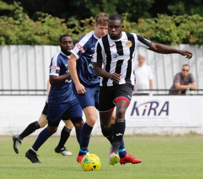 Alex Teniola scored a first-half hat-trick for Heybridge Swifts against Romford Picture: Alan Edmonds