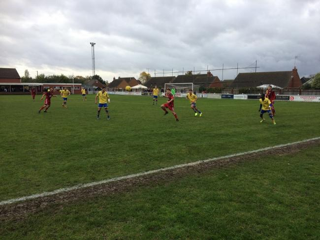 Action from Saturday's match between Brightlingsea and Kingstonian, at the Taydal Stadium