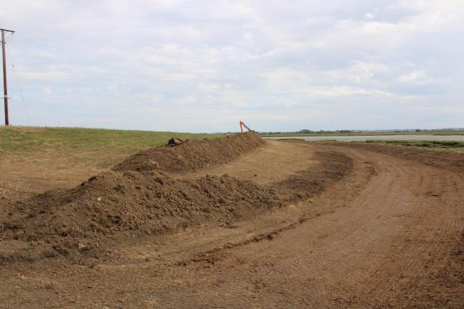 The realigned south embankment where new saltmarsh can be created