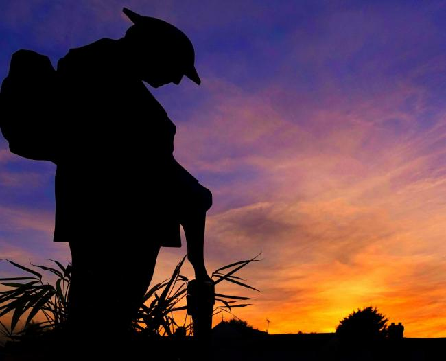 Tommy Soldier at sunset in Tillingham . Sent in by Bob Hill