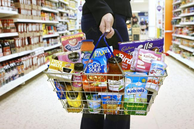 A shopping basket of Premier Foods items