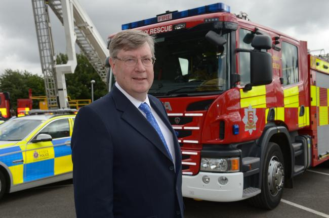 Police and Crime Commissioner Roger Hirst named the first police and fire joint commissioner.Fire HQ, Kelvedon Park HQ.Police and Crime Commissioner Roger Hirst named the first police and fire joint commissioner by MP Nick Hurd from the Home Office...