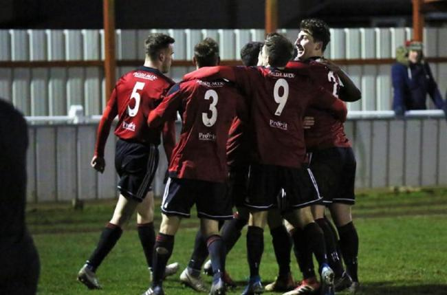 No game - Brightlingsea Regent, pictured here celebrating their recent victory against Bishop's Stortford, had been due to host Carshalton Athletic on Saturday Picture: NEIL PAYNE