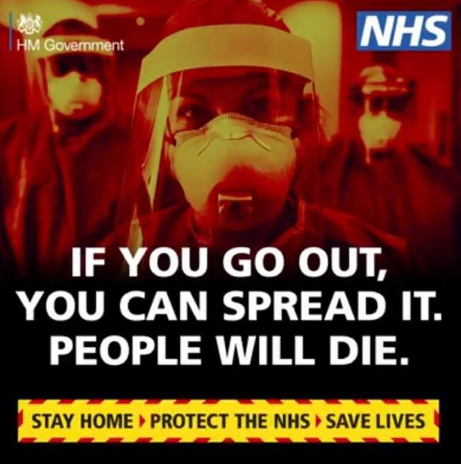 'Stay at home or people will die' - Government launches series of striking adverts
