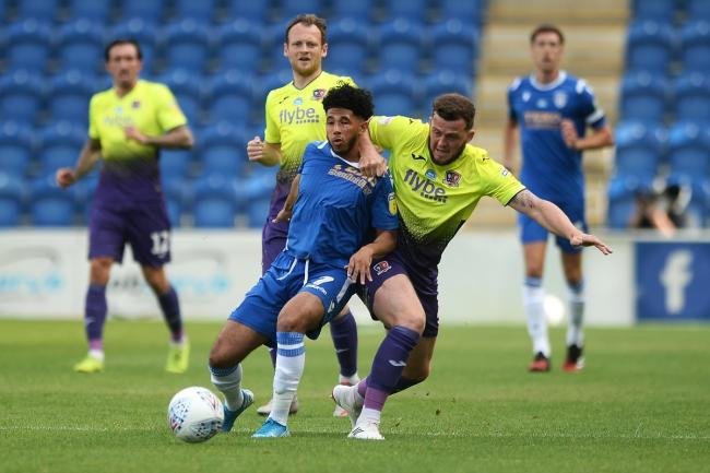 Courtney Senior of Colchester United does battle with Ryan Bowman of Exeter City - Colchester United vs. Exeter City - Sky Bet League Two - JobServe Community Stadium, Colchester - 18/06/2020 - Photo: Richard Blaxall