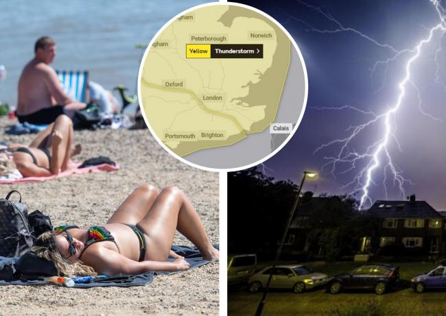 Thunderstorms are expected in Essex after a heatwave saw temperatures reach 29C. Beach picture: PA