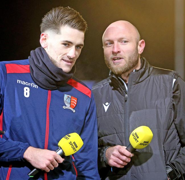Moving on: Charlee Hughes (left, pictured with boss Wayne Brown) has left Maldon and Tiptree to join Wealdstone. Picture: NICKY HAYES/iCORE LTD
