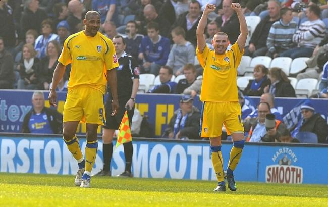 Prize assets - Mark Yeates (right) celebrates scoring for Colchester United at Leicester City with team-mate Clive Platt, in 2009 Picture: PAGEPIX
