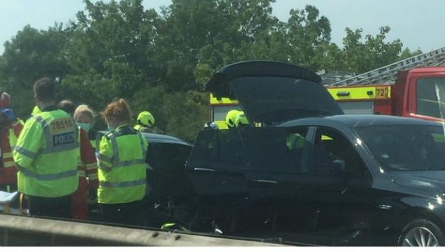 The M11 was flooded with emergency service teams (Credit: @timtweets2012)