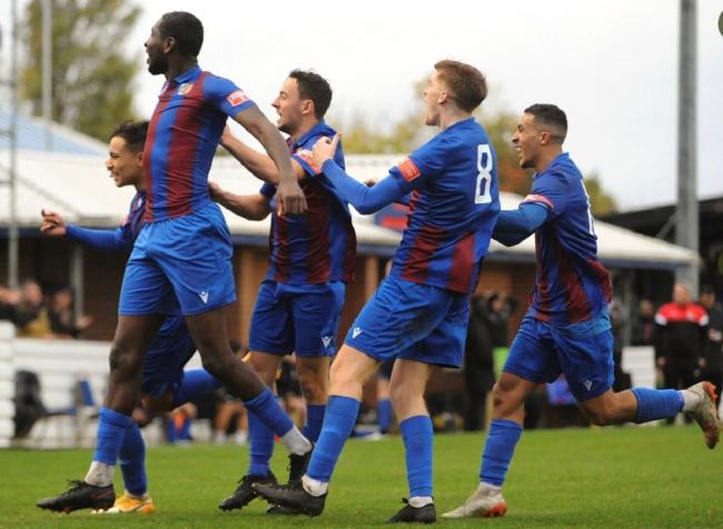 Jubilant - Maldon and Tiptree's players celebrate after scoring a late winner in their 1-0 win over Haringey Borough in the FA Cup fourth qualifying round Picture: BEN POOLEY