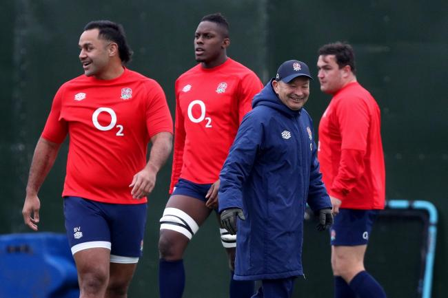 Eddie Jones (blue coat) is preparing his side to lay Wales
