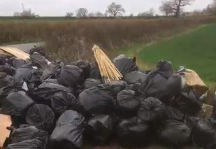 A video still of the flytip in Tinkers Hole, Maldon