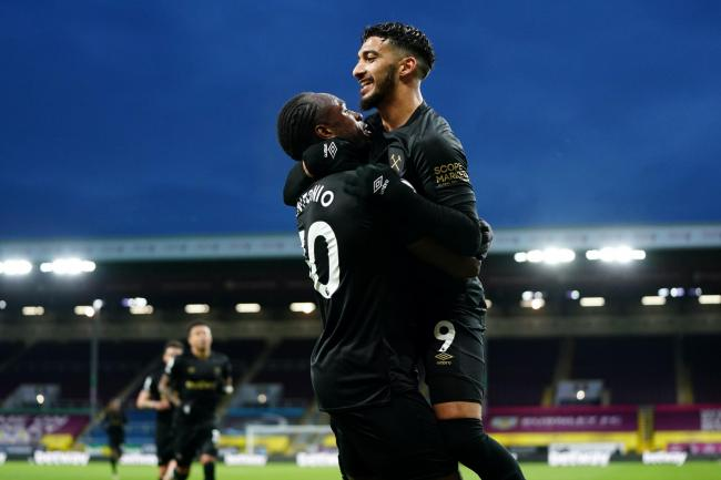 Said Benrahma and Michail Antonio celebrate