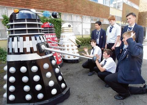 Exterminate: Pupils Charlie Brewer, Chris Allman, Stephen Frend, Harley Swann, Bradley Cockett and Harvey Griffin with their life-size Daleks