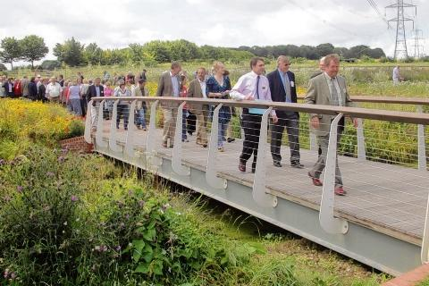 The opening of the bridge at Marks Hall last August
