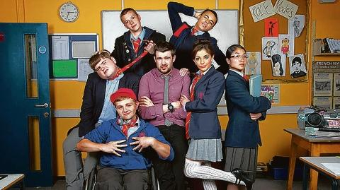 Ethan, far left, in his new comedy role in Bad Education with Jack Whitehall (centre)
