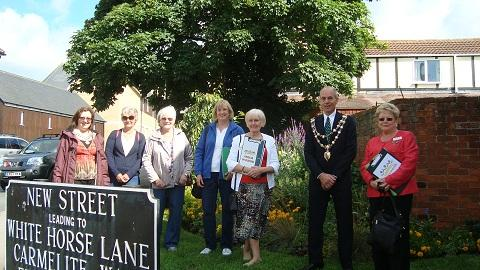 Mayor and Mayoress of Maldon, Peter and Jeanette Stilts, with members of the Blackwater U3A, Terri Hardcastle, Margaret Snowdon and Doreen Linton, and Anglia in Bloom judges Hazel Law and Sue Hacon.