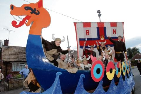 Burnham's RNLI Viking float in the 2011 carnival