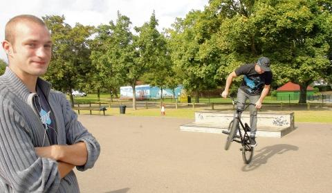 Joe Chapman and Duncan Kennedy at Maldon's skate park