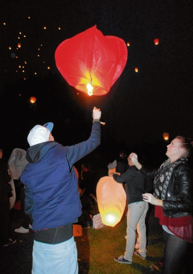 Maldon district: Sky lit up as tribute to Brad and Abbey