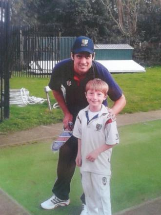 England cricket captain Alastair Cook with nine-year-old Maldon cricketer Ethan Bardo.