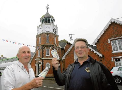 Cllr Jack Sheppard with business-owner Chris Fugeman urging people to contribute a few pounds each