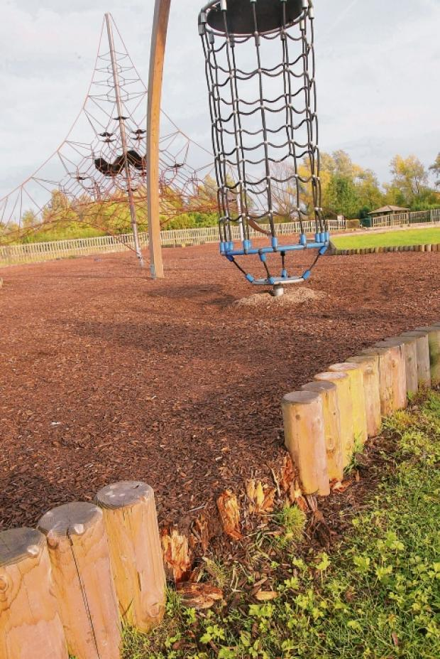 Oak Tree Meadow play area with the spinning cage