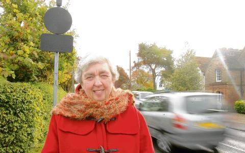 Maldon and Burnham Standard: Burnham town mayor Helen Elliot with the speed indicator sign in Maldon Road