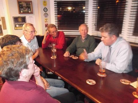 MP Brandon Lewis enjoys a pint with volunteers at the Norton.