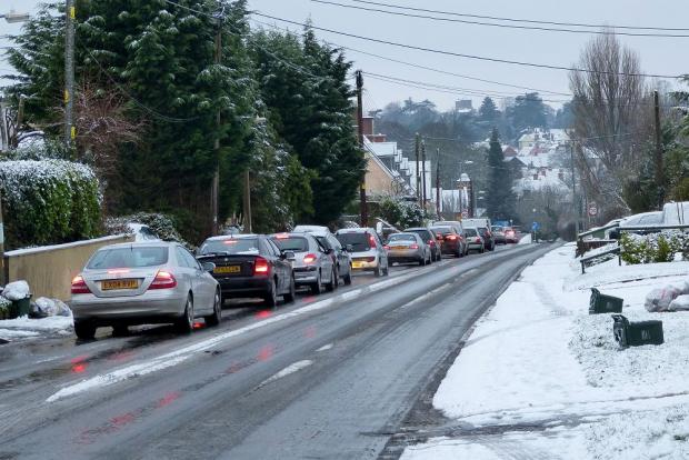 Broad Road, Braintree, this morning, photographed by John Parish