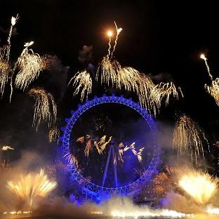 Fireworks over the London Eye, in central London, as part of the New Year celebrations