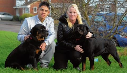Jacki Ithier (right) pictured with her son Jean-Luc Ithier and her two Rottweilers Roxy and Missy