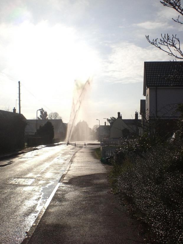 Southminster: Burst water main sends water 20 feet high