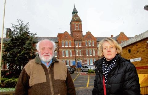 Cllr Bob Boyce, leader of Maldon District Council, and Hazel Berrett, Strategic Director, outside St Peters Hospital in Maldon.