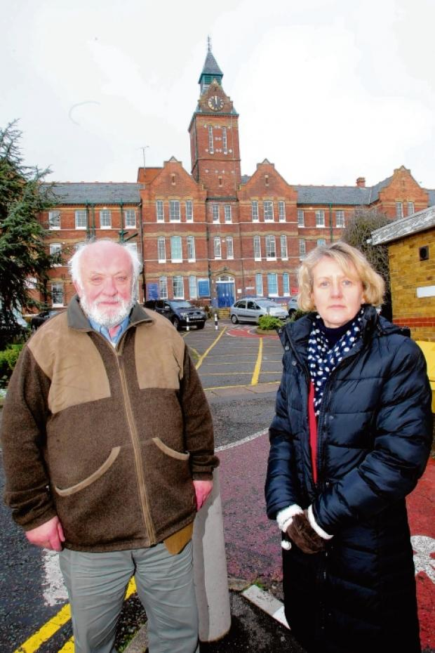 Councillor Bob Boyce and MDC's strategic director Hazel Berrett outside St Peter's Hospital.