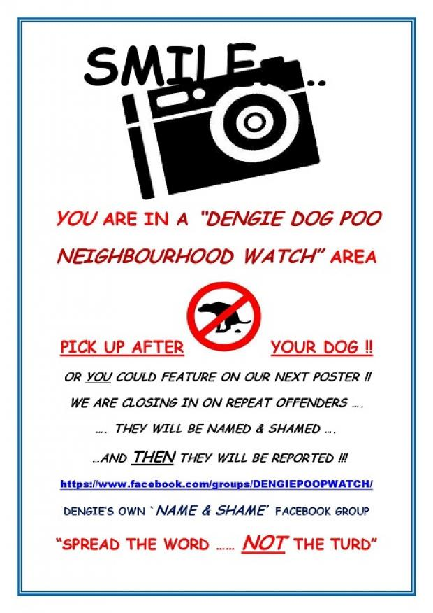 An example of the posters in the Dengie under the 'poop watch' scheme