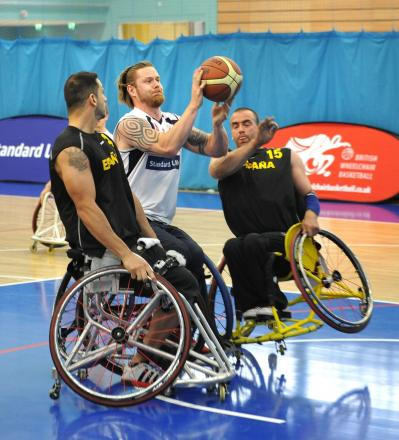 Wheelchair basketball players in action