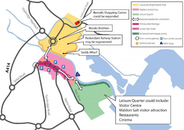 A map of options discussed in the early stages of a masterplan to regenerate the centre of Maldon and Heybridge