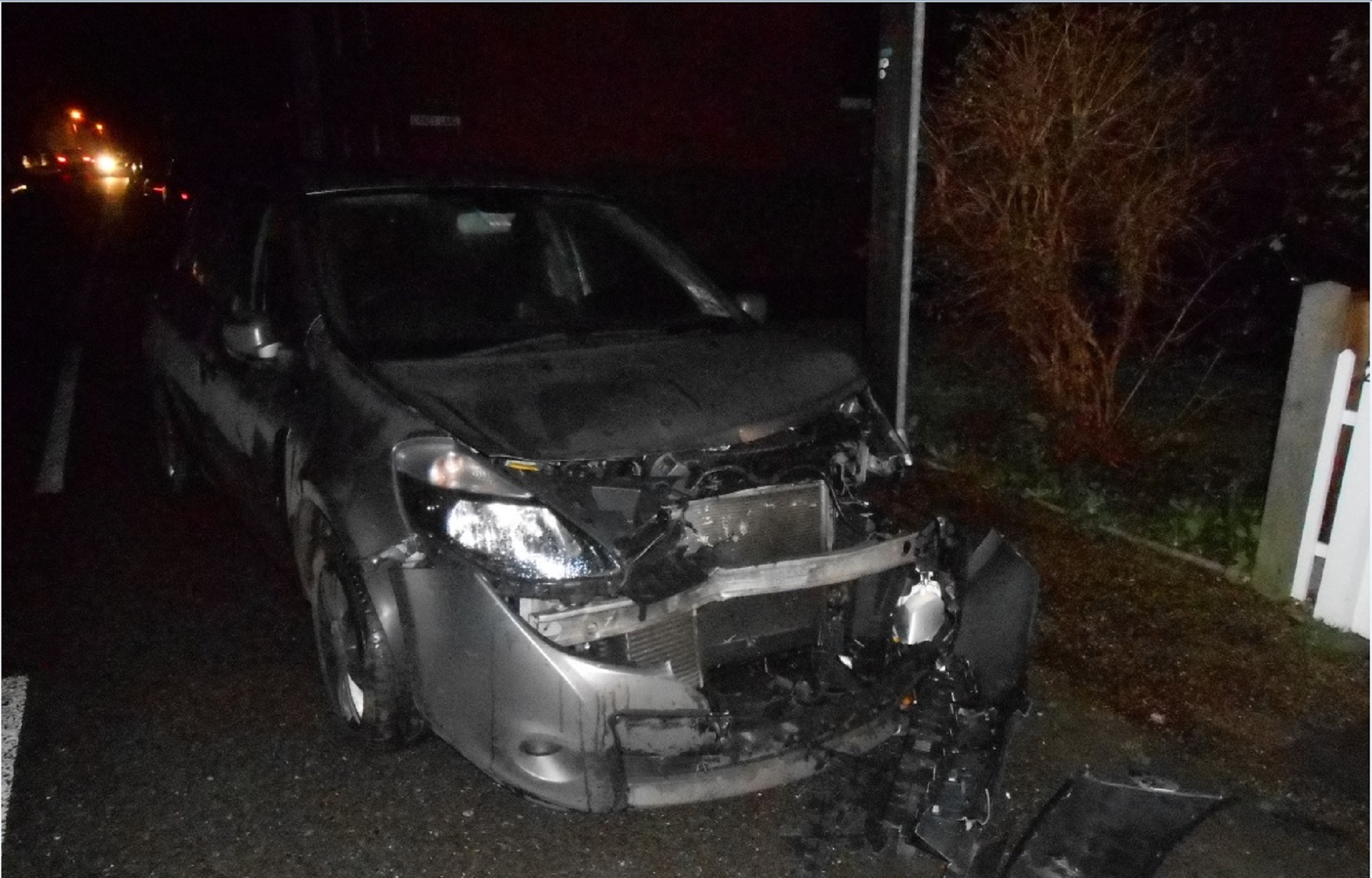 This car was written off when another car struck it in South Street, Tillingham, in December
